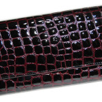 Large Leather Wallet Clutch. Croco pattern,