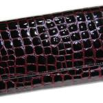 Large Leather Wallet Clutch. Croco pattern,