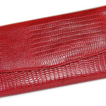 Red Leather Wallet Clutch Snake Skin Pattern