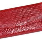 Red Leather Wallet Clutch Snake Skin Pattern